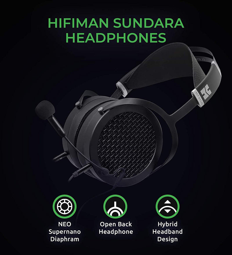 HIFIMAN SUNDARA Open Back Headphones Bundle with Antlion Audio ModMic 5 Attachable Microphone, FiiO A1 Silver Portable Headphone Amplifier, and Blucoil Y Splitter for Audio, Mic