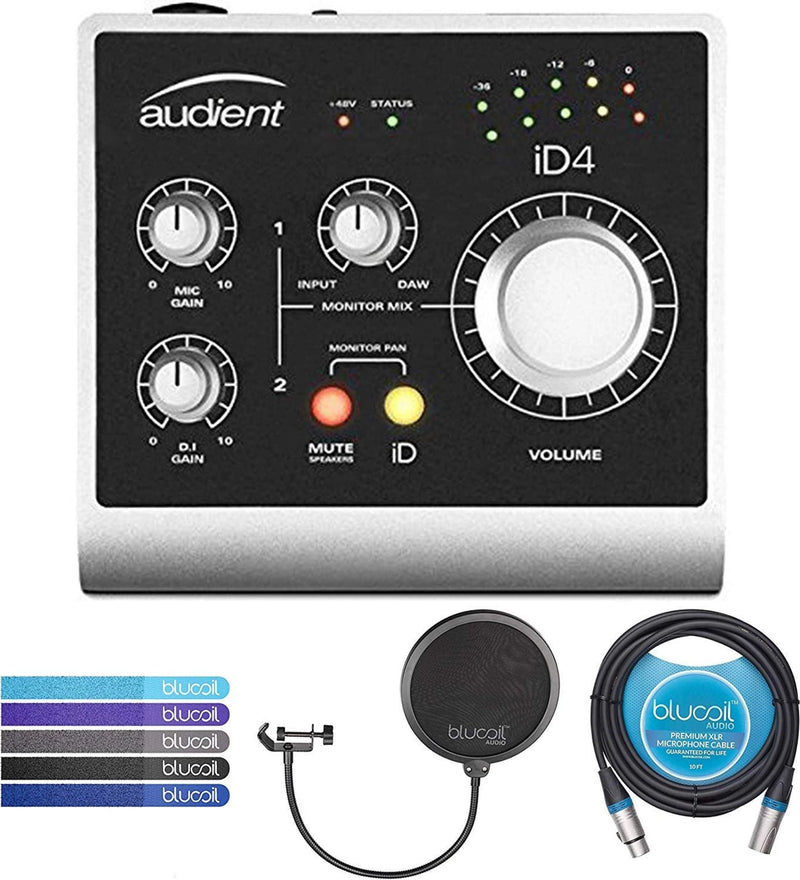 Audient ID4 USB 2.0 Audio Interface Bundle with Blucoil Pop Filter Windscreen, 10-Ft Balanced XLR Cable, and 5-Pack of Reusable Cable Ties