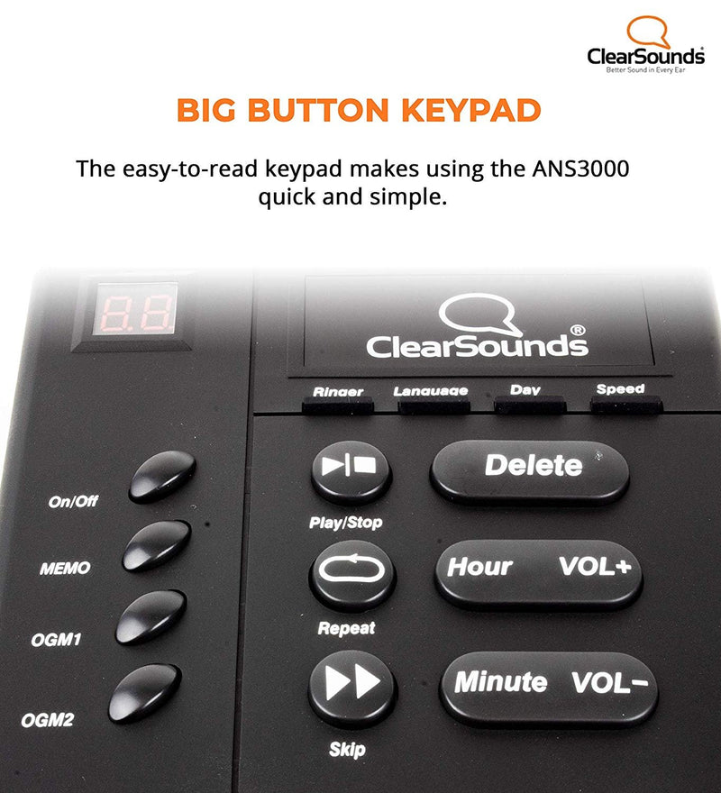 ClearSounds ANS3000 Amplified Answering Machine for Analog Landline Phones (30dB Amplification)