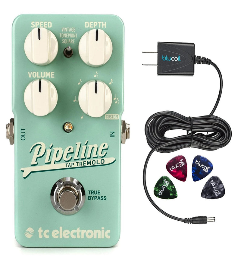 TC Electronic Pipeline Pedal with Tap Tempo Bundle with Blucoil Slim 9V 670ma Power Supply AC Adapter and 4-Pack of Celluloid Guitar Picks