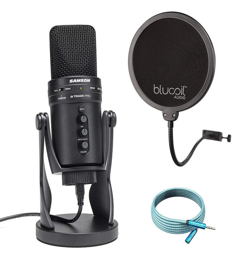 Samson G-Track Pro USB Microphone with Audio Interface Mute Volume Control Bundle with Blucoil Pop Filter and 6-Ft Audio Extension Cable