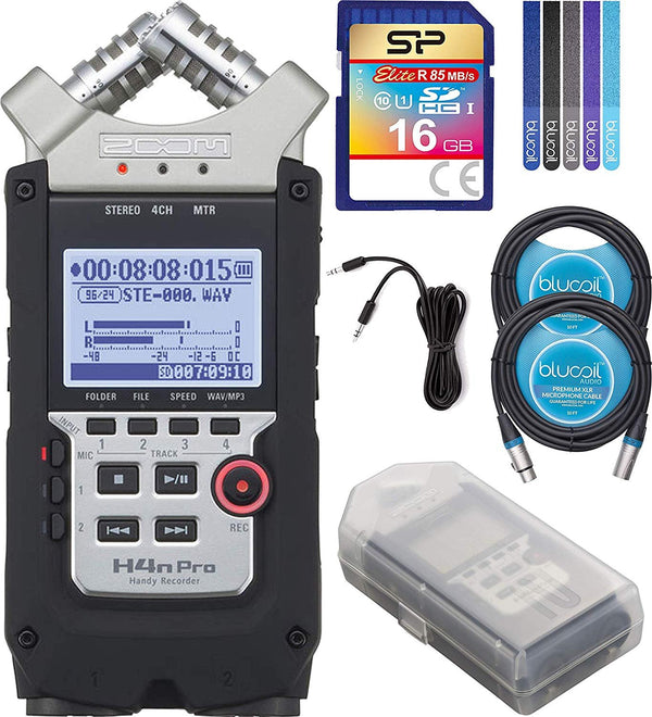Zoom H4N PRO Handy Recorder Bundle with Silicon Power 16GB Class 10 SDHC SD Card, 6-FT Stereo Aux Cable, 2x Blucoil 10-FT XLR Cables, and 5-Pack of Reusable Cable Ties