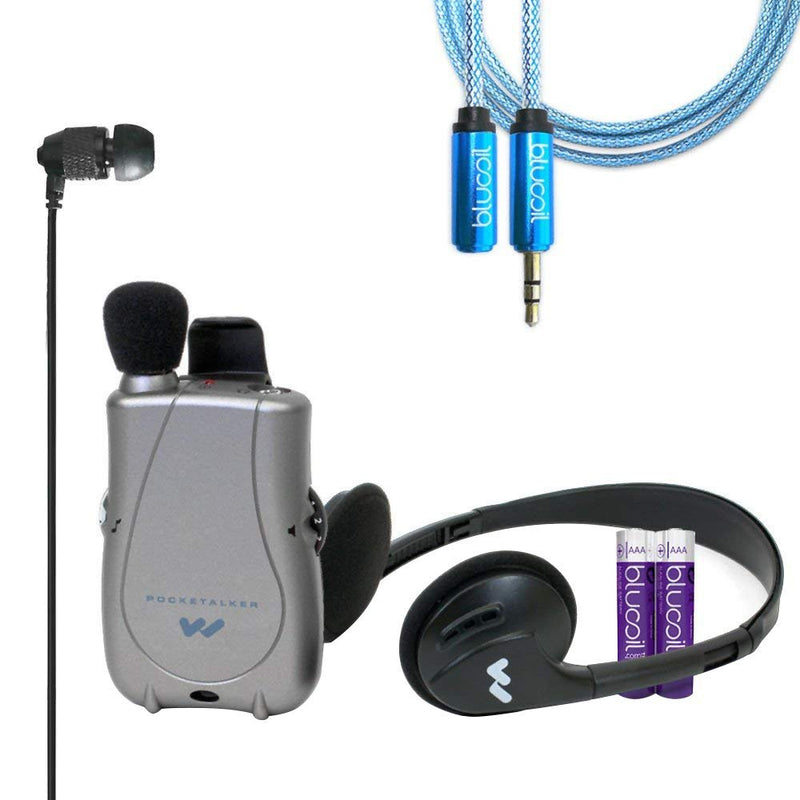 Williams Sound PKT D1 EH Pocketalker Ultra Duo Pack Amplifier Bundle with Far End Gear ECV1 XDU Pathfinder Noise Isolating Earphone, Blucoil Audio 6ft Extension Cable and 2-Pack of AAA Batteries
