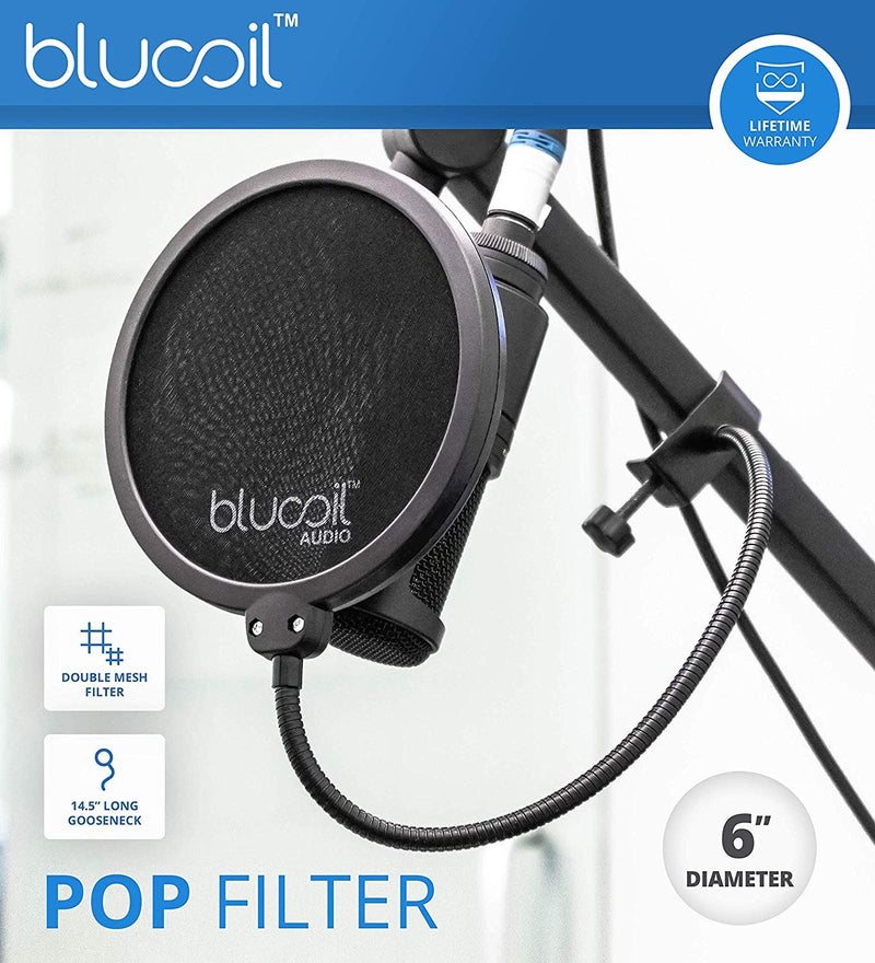 Audio-Technica ATR2100-USB Handheld Cardioid Dynamic USB and XLR Microphone Bundle with Blucoil Pop Filter, 10-Ft XLR Cable and 5-Pack of Reusable Cable Ties