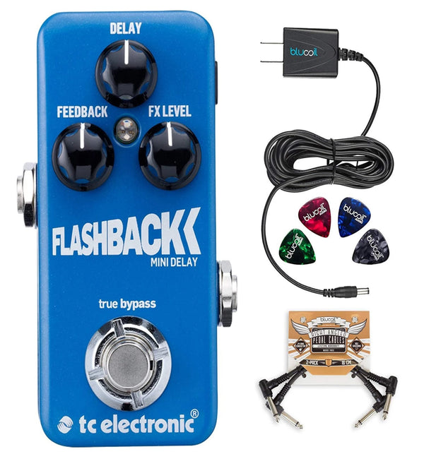 TC Electronic FlashBack Mini Delay Pedal with TonePrint Bundle with Blucoil Power Supply Slim AC/DC Adapter for 9 Volt DC 670mA, 2 Pack of Pedal Patch Cables and 4 Celluloid Guitar Picks
