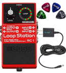 Boss RC-1 Stereo Loop Station Bundle with Blucoil Slim 9V Power Supply AC Adapter and 4-Pack of Celluloid Guitar Picks