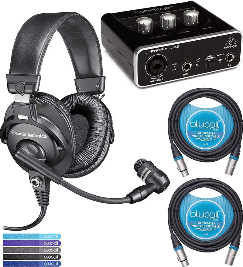 Audio-Technica BPHS1 Broadcast Headset Bundle with Behringer U-PHORIA UM2 2x2 USB Audio Interface with 48V Phantom Power, 2-Pack of Blucoil 10-FT Balanced XLR Cables, and 5-Pack of Reusable Cable Ties