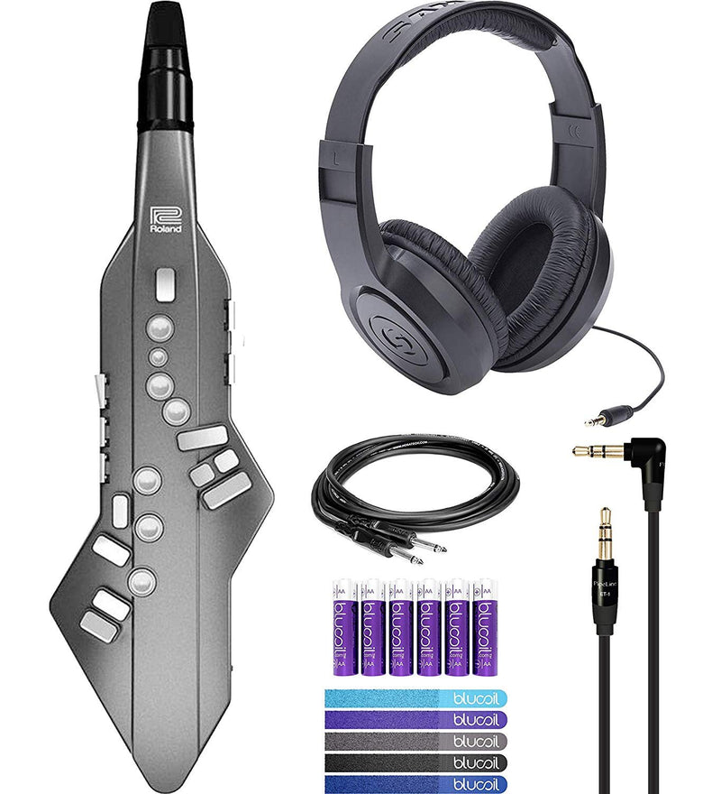 Roland AE-05 Aerophone GO (Graphite) Bundle with Samson SR350 Headphones, Pipeline PLET1B Dual 3.5mm Headphone Cable, Hosa CPP-103 Unbalanced Audio Cable, 5 Blucoil Cord Ties and 6 AA Batteries