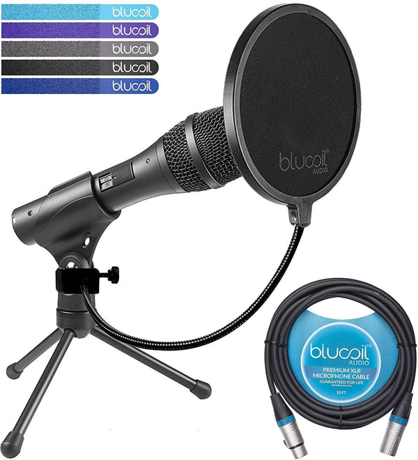 Audio Technica AT2005USB Dynamic Cardioid Microphone with USB/XLR Outputs Bundle with Blucoil Pop Filter and 10-Ft XLR Cable