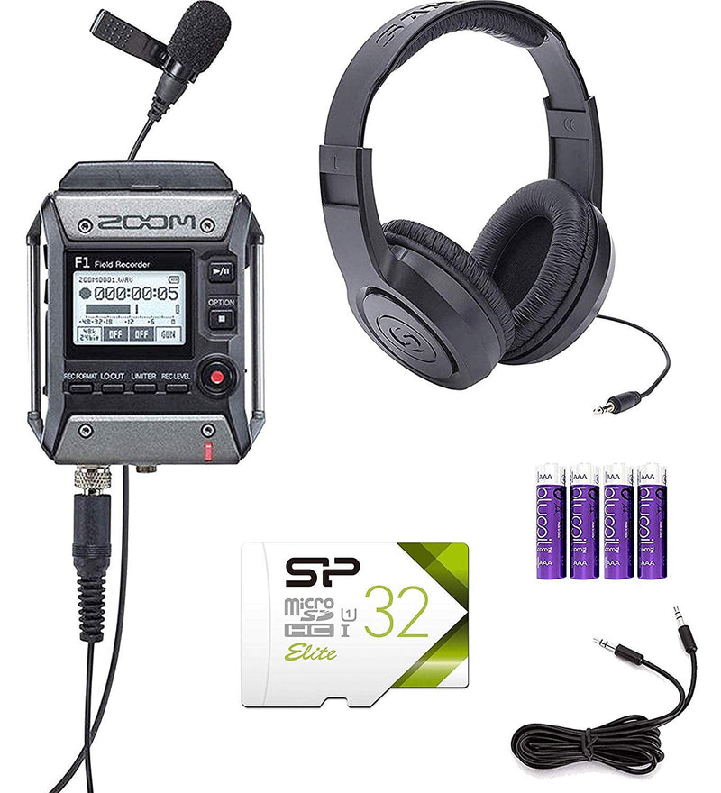 Zoom F1-LP Field Recorder Lavalier Mic Bundle with Samson SR350 Headphones, Silicon Power 32GB Class 10 MicroSD Card, Blucoil 6' 3.5mm Extension Cable, 6' Aux Cable, 5x Cable Ties, and 4 AAA Batteries