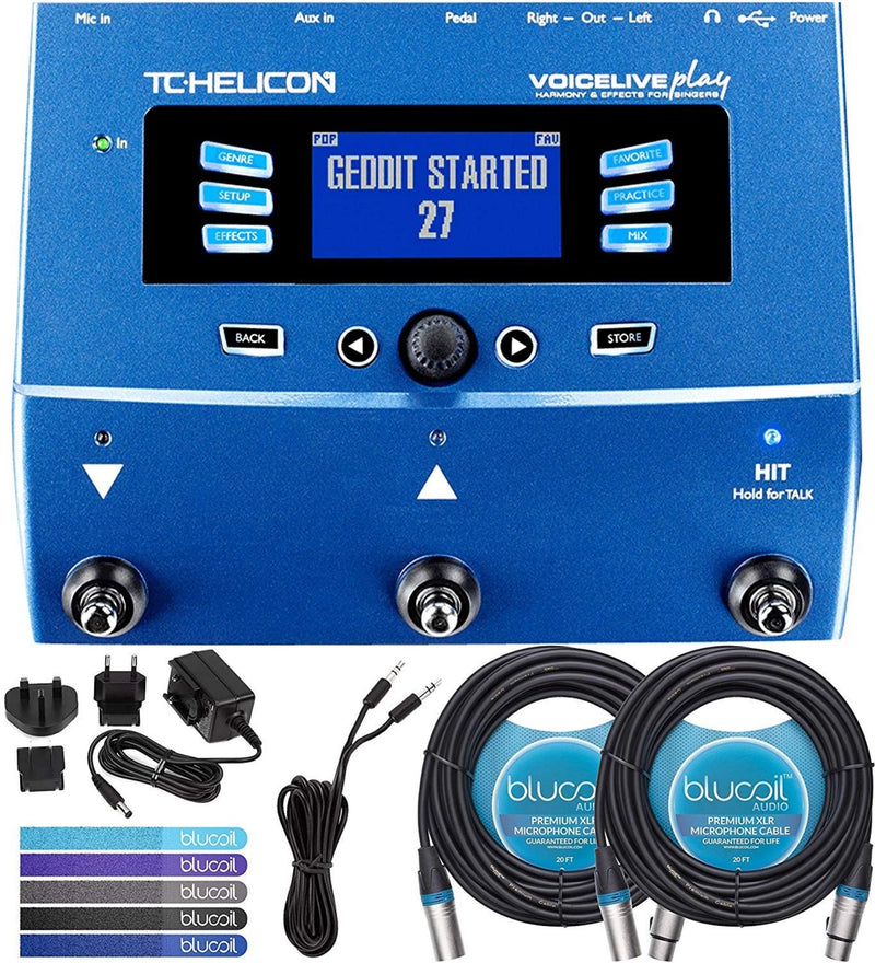 TC Helicon Play Acoustic Vocal Effects Stompbox Bundle with 12V 400mA DC Power Supply, 10-FT Straight Instrument Cable (1/4in), Blucoil 2-Pack of 20-FT Balanced XLR Cables, and 4-Pack of Guitar Picks