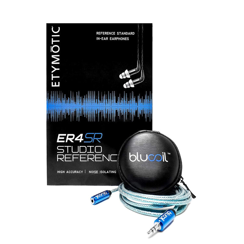 Etymotic Research ER4XR Extended Range in Ear Monitors - Includes - Blucoil Earbuds Case and 6 Foot Headphone Extender - Value Bundle