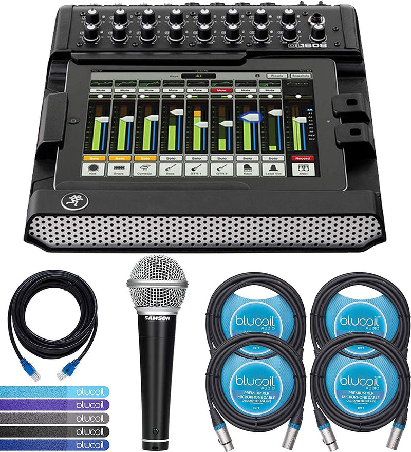 Mackie DL1608 Digital Mixer Compatible with iPad, 16-Channel Bundle with 2 Blucoil 10-FT Balanced XLR Cables and 14-FT 1 Gbps Cat5e Cable