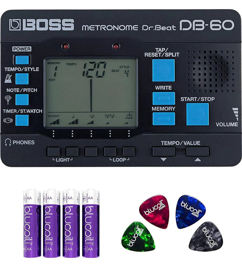 BOSS DB-60 DR. BEAT METRONOME Bundle with Blucoil 4-Pack of AA Batteries and 4-Pack of Celluloid Guitar Picks