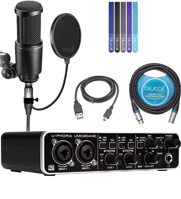 Behringer UMC204HD USB MIDI Audio Interface + Audio-Technica AT2020 Condenser Microphone, Blucoil Pop Filter, 10' XLR Cable