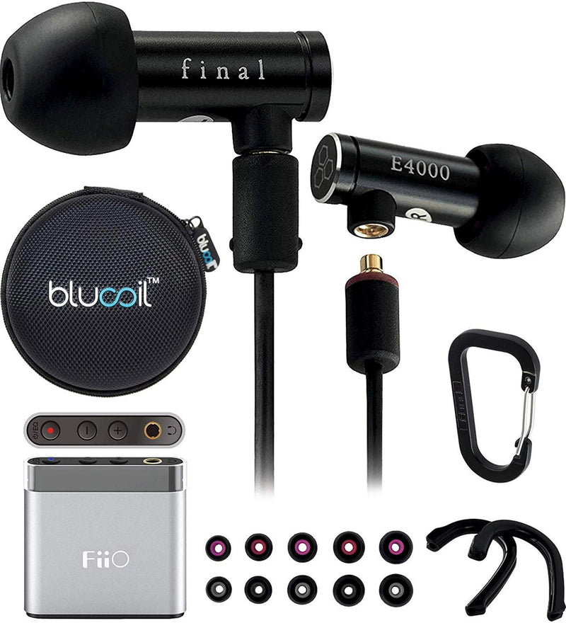 Final Audio E4000 Hi-Res Earphones with MMCX Connector Bundle with FiiO A1 Portable Headphone Amp, and Blucoil Portable Earphone Hard Case