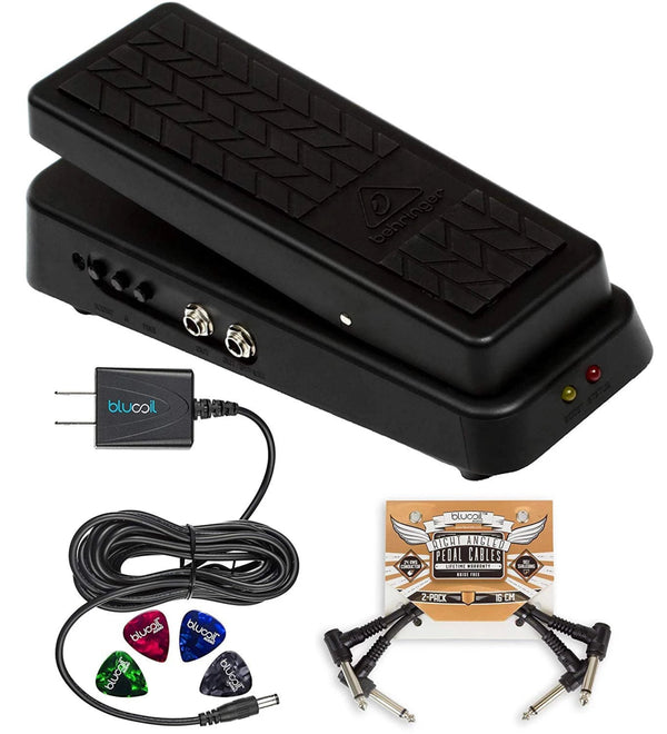Behringer Hellbabe HB01 Wah Pedal + Blucoil 9V AC Adapter + 2x Patch Cables + 5x Cable Ties