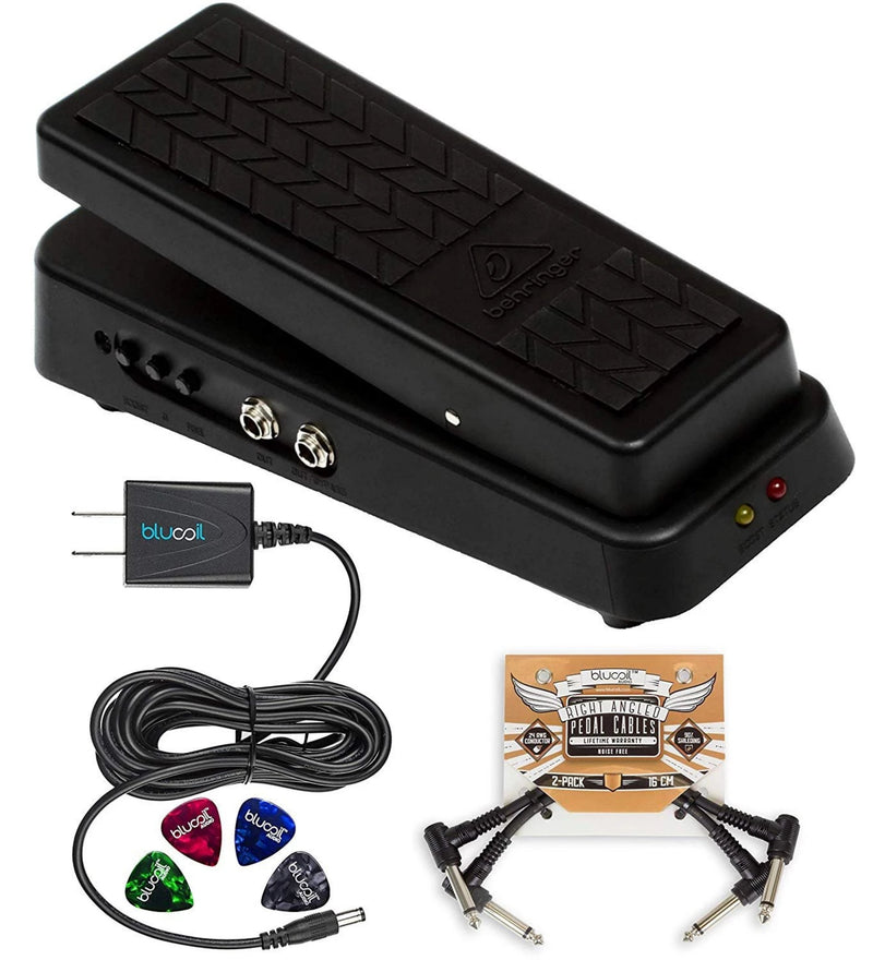 Behringer Hellbabe HB01 Wah Pedal Bundle with Blucoil Power Supply Slim AC/DC Adapter for 9 Volt DC 670mA, 2-Pack of Patch Cables and 4-Pack of Guitar Picks