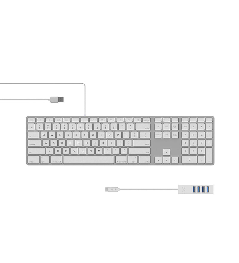 Matias FK318LS RGB Backlit USB Wired Aluminum Keyboard with Numeric Keypad - Compatible with Mac Bundle with Blucoil Mini USB Type-C Hub with 4 USB Ports (Silver)