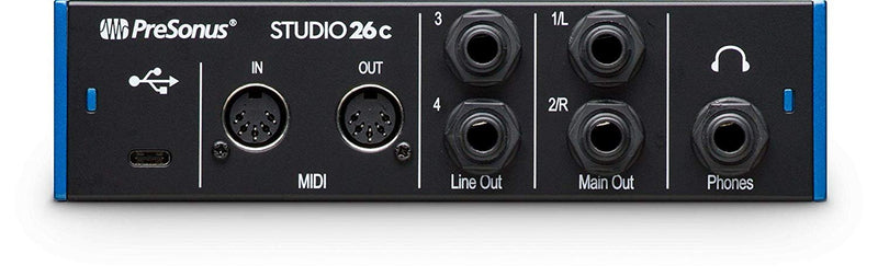 "PreSonus Studio 26c USB-C Audio Interface Bundle with Studio One Artist, Studio Magic Plug-In Suite, Hosa 5' 1/4"" Male to Male Cable, Blucoil 2-Pack of 10' XLR Cables, Pop Filter, and 5x Cable Ties"