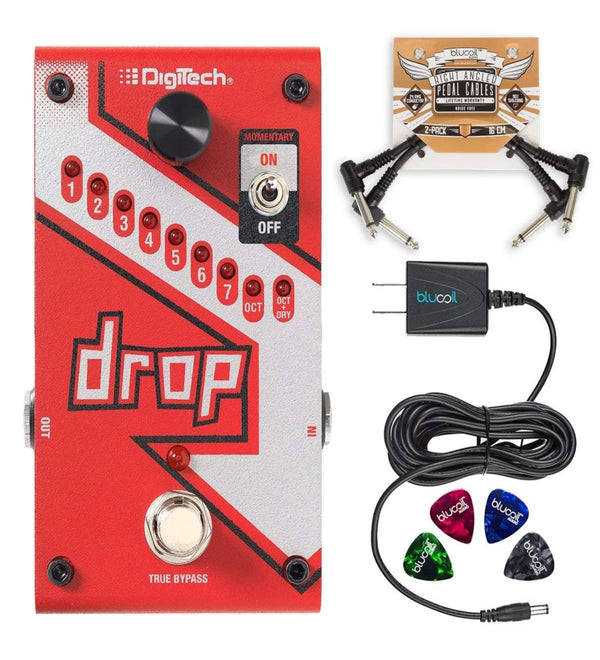 DigiTech DROP Polyphonic Drop Tune Pitch-Shifter Pedal + Blucoil 9V AC Adapter + 2x Patch Cables + 4x Guitar Picks