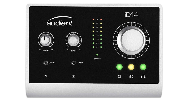 Audient ID14 Desktop Audio Interface Bundle with Hosa CPP-103 Unbalanced Audio Cable, Blucoil 10-Ft Balanced XLR Cable, Pop Filter Windscreen, and 5-Pack of Reusable Cable Ties