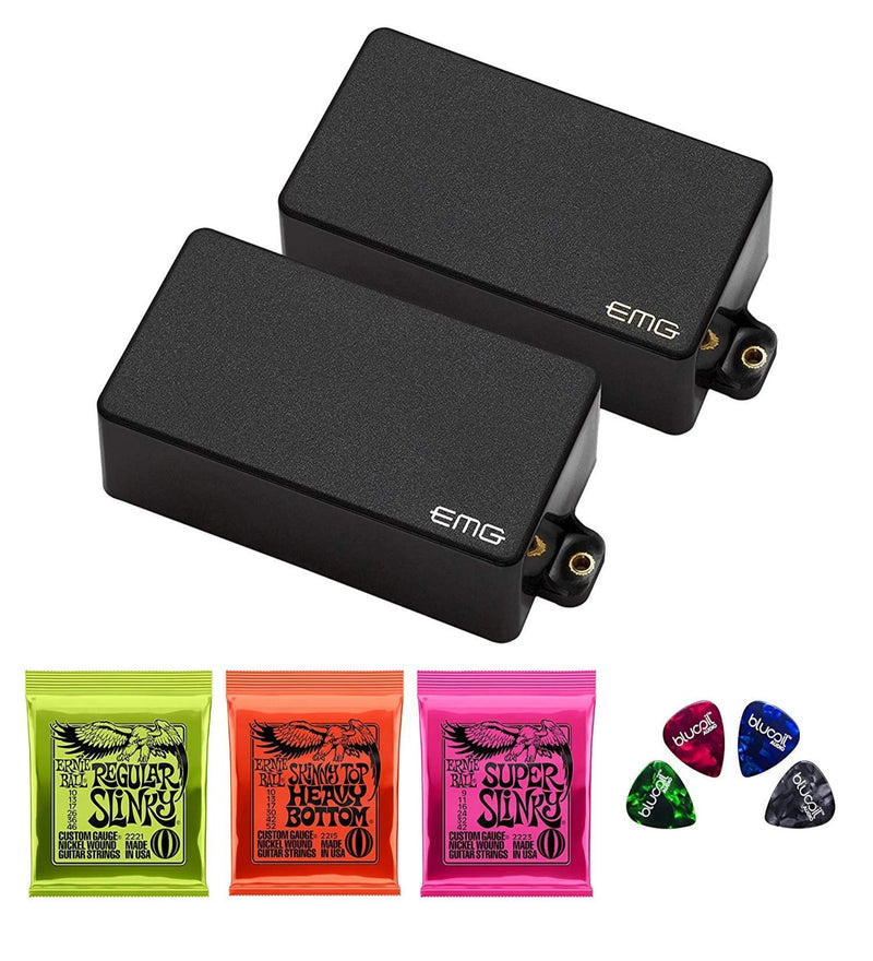 EMG Zakk Wylde Pickups - Active Humbucker ZW Set (Black) Bundle with Ernie Ball Nickel Wound Electric Guitar Strings: Skinny Top Heavy Bottom, Regular Slinky, Super Slinky and 4 Blucoil Guitar Picks