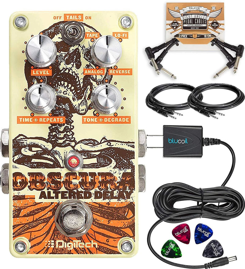 DigiTech Obscura Altered Stereo Delay Pedal Bundle with Hosa 2-Pack of 10-FT Straight Instrument Cables (1/4in), Blucoil Slim 9V 670ma Power Supply AC Adapter, 2x Patch Cables, and 4x Guitar Picks
