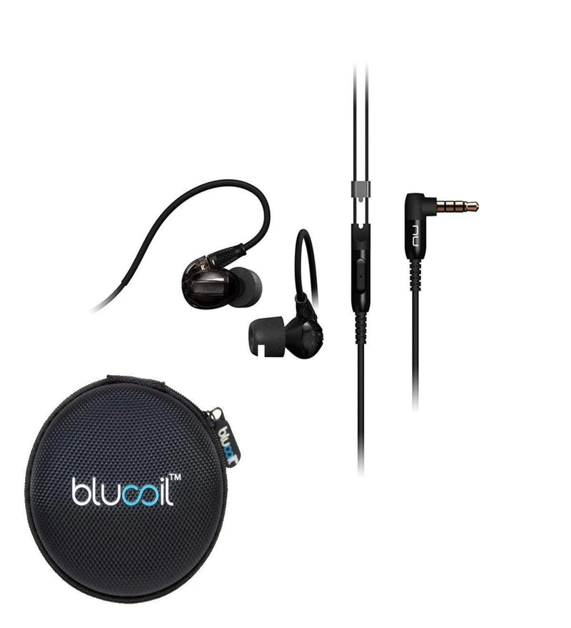 NuForce Hem Dynamic Noise Isolating in-Ear Monitor Earphones Built-in Microphone, in-line Remote (Charcoal Black) Bundle with Blucoil Portable Headphone Hard Case