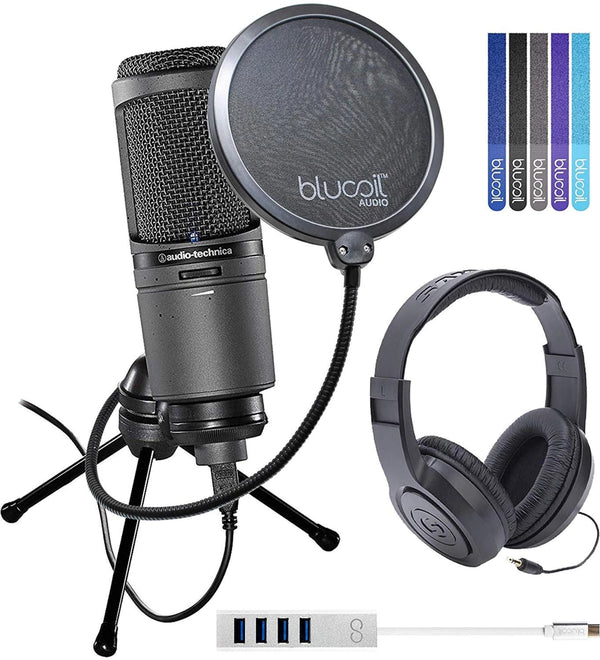Audio-Technica AT2020USBi Cardioid USB Microphone Bundle with Samson SR350 Over-Ear Closed-Back Headphones, Blucoil Mini USB Type-C Hub with 4 USB Ports, Pop Filter Windscreen, and 5x Cable Ties