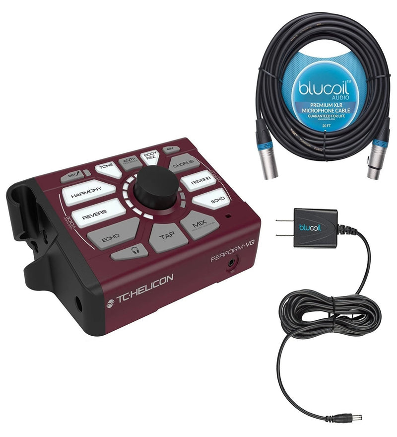 TC Helicon Perform-VG Vocal Effect Processor Bundle with Slim 12V Power Supply AC Adapter and Blucoil Audio 20' Balanced XLR Cable