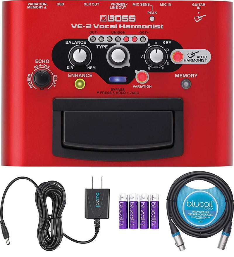 BOSS VE-2 Vocal Harmonist Pedal Bundle with Blucoil Slim 9V Power Supply AC Adapter, 10-Ft Balanced XLR Cable, and 4 AA Batteries