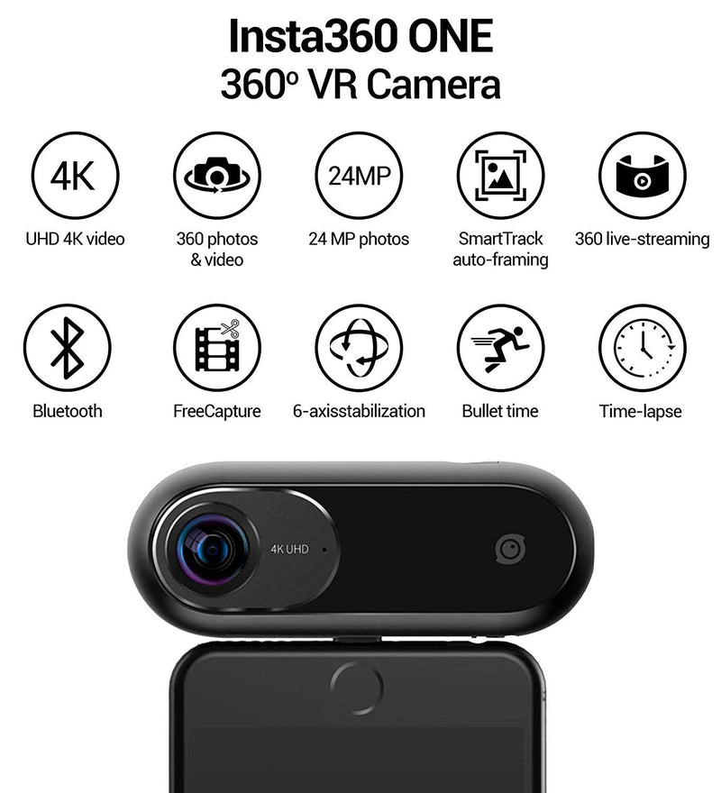 Insta360 ONE Camera with Image Stabilization for Sports and Action Video Bundle with ZEISS VR ONE Plus Virtual Reality Headset and 5 Pack of Blucoil Cable Ties