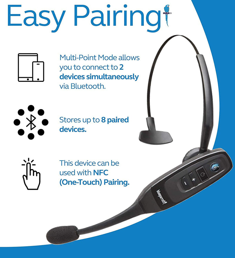 BlueParrott C400-XT A2DP Bluetooth Headset with 96% Noise Cancellation Bundle with Blucoil Micro USB Car Charger, USB Wall Adapter and 5-Pack of Reusable Cable Ties