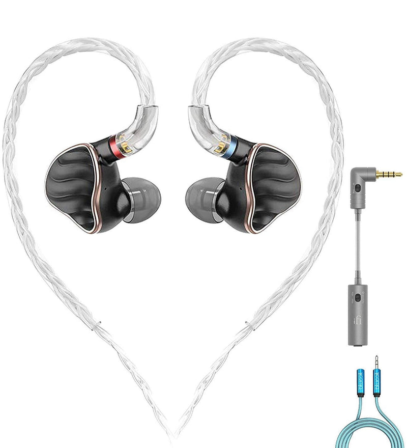 FiiO FH7 5 Driver in-Ear Monitors with Sound Filtering Earplugs (Black) Bundle with iFi iEMatch 3.5mm Audio Attenuator for Headphones and IEMs, and Blucoil 6-FT Headphone Extension Cable (3.5mm)