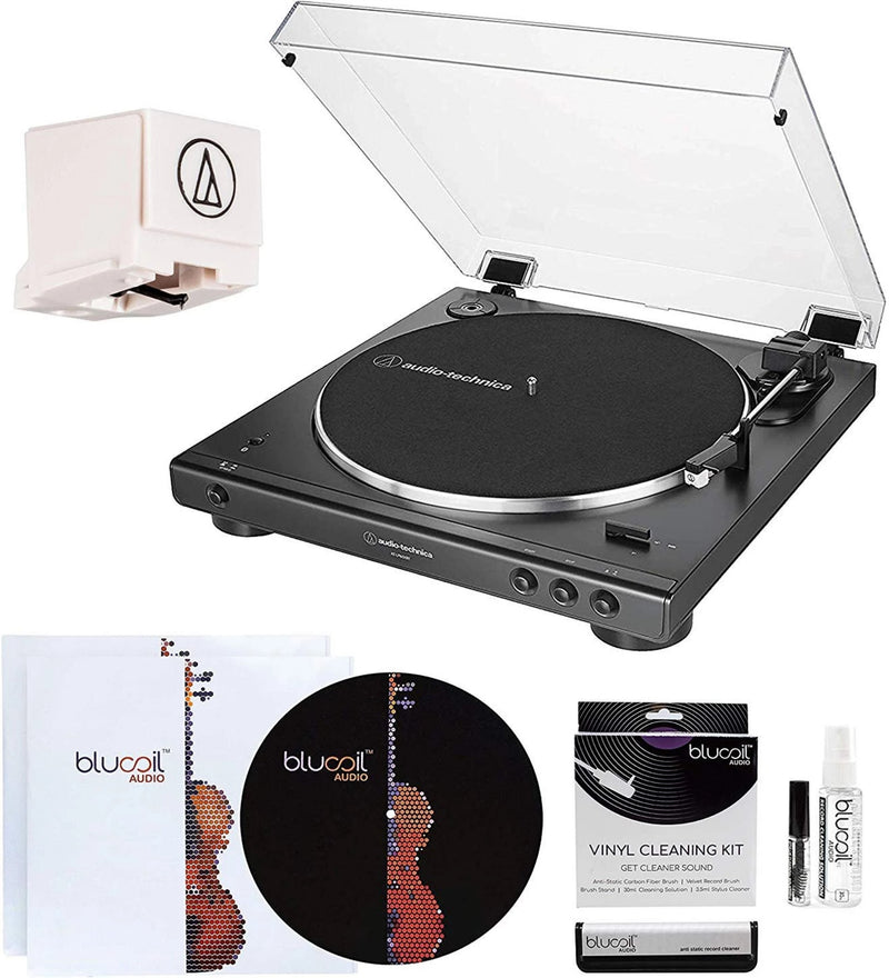 Audio-Technica AT-LP60XBT Bluetooth Belt-Drive Turntable (Black) Bundle with ATN3600L Replacement Stylus, Blucoil 2-in-1 Vinyl Cleaning Kit, 12-inch Turntable Slipmat, and 2-Pack of LP Inner Sleeves