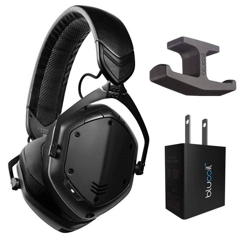 V-Moda XFBT2-MBLACK Crossfade 2 Bluetooth Wireless Headphones with Active Noise Cancellation (Matte Black) -Includes- Blucoil Adhesive Under-Desk Headphones Hook Mount and USB Adapter