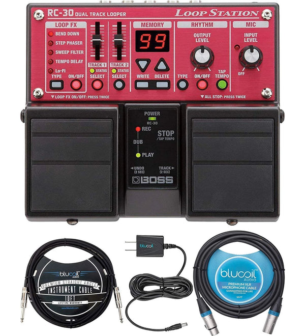BOSS RC-30 Loop Station Bundle with AA Alkaline Batteries, Blucoil Slim 9V 670ma Power Supply AC Adapter, 10-FT Balanced XLR Cable, and 10-FT Mono Instrument Cable