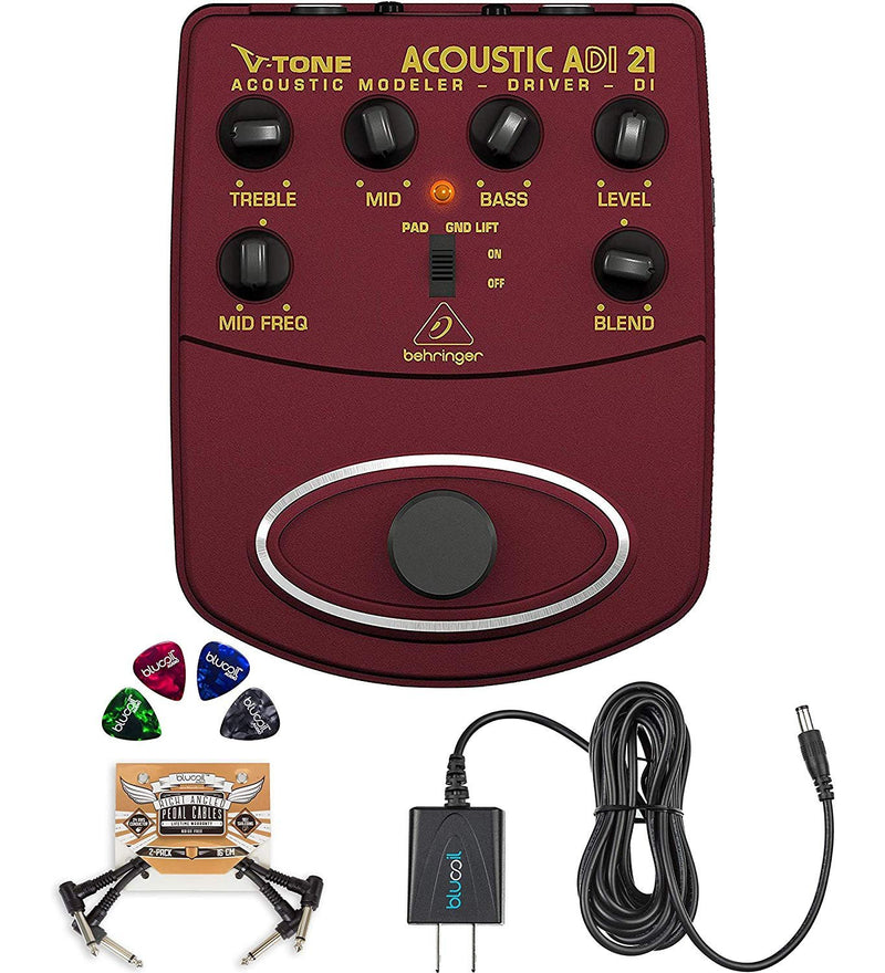 Behringer ADI21 V-Tone Acoustic Driver Bundle with Blucoil Slim 9V Power Supply AC Adapter, 2-Pack of Pedal Patch Cables, and 4-Pack of Celluloid Guitar Picks