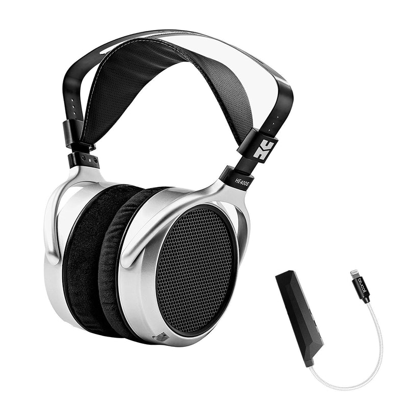 Hifiman HE400S Full-Size Planar Headphone Bundle with Blucoil Aqua Portable in-Line DAC and Amplifier