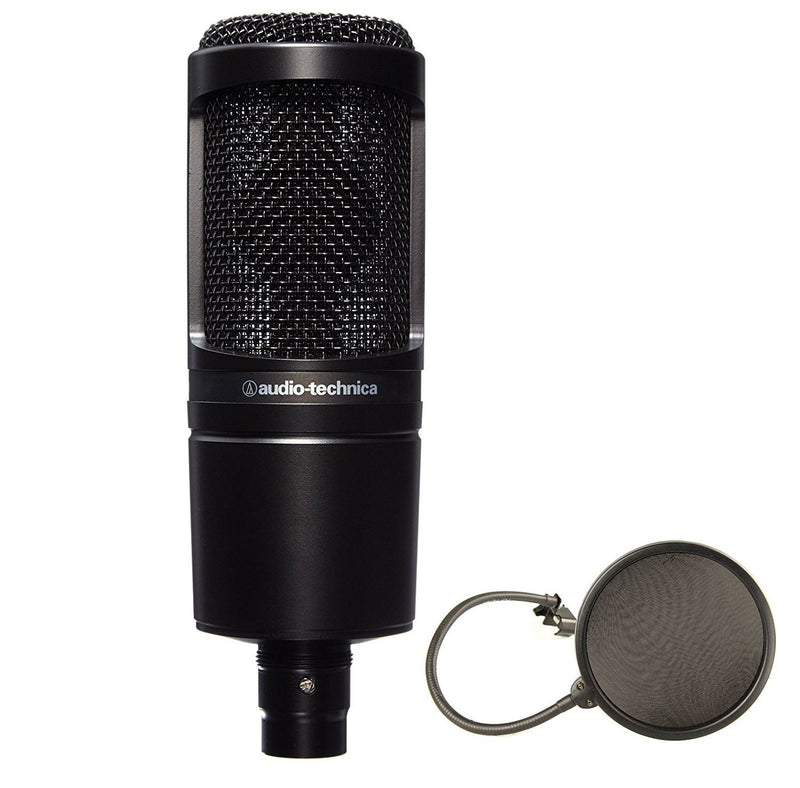 Audio-Technica AT2020 Cardioid Condenser Studio Microphone Bundle + Pop Filter