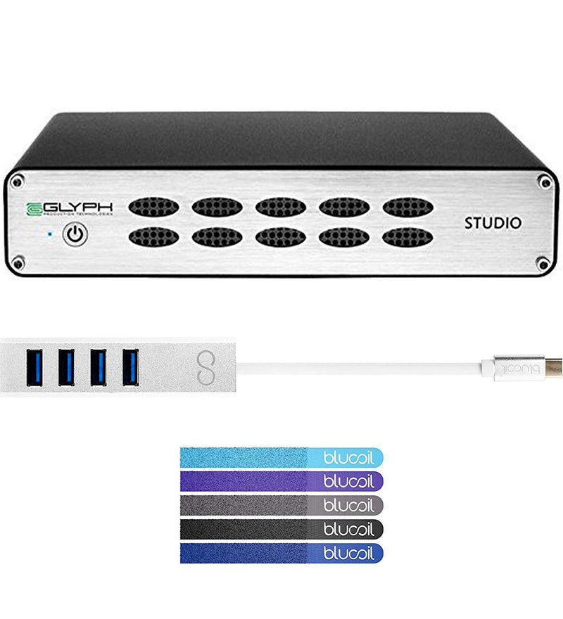 Glyph Studio 3TB USB-C/FireWire 800 / eSATA External Hard Drive Bundle with Blucoil USB Type-C Mini Hub with 4 Ports and 5-Pack of Cable Ties