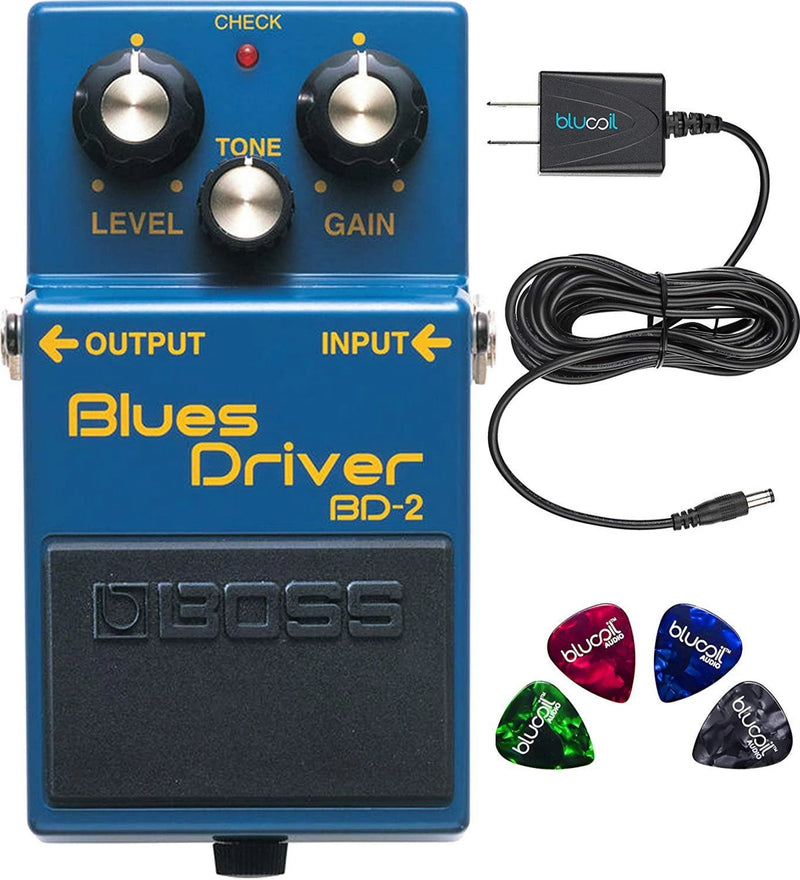 Boss BD-2 Blues Driver Guitar Effects Pedal Bundle with Blucoil Power Supply Slim AC/DC Adapter for 9 Volt DC 670mA and 4 Pack of Guitar Picks