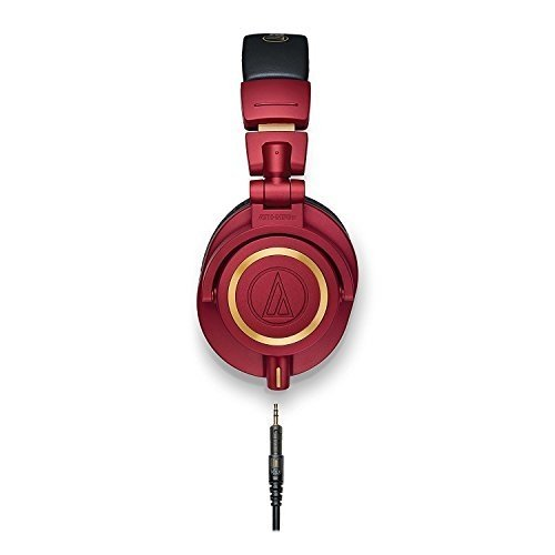 Audio-Technica ATH-M50xRD Professional Studio Monitor Headphones, Red -INCLUDES- Antlion Audio ModMic 4 Attachable Boom Mic - Cardioid w/Mute Switch, USB Adapter AND Blucoil Y Splitter