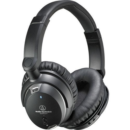 Audio-Technica ATH-ANC9 QuietPoint Active Noise-Cancelling On-Ear Headphones Bundle with Carrying Case and FiiO A1 Amp, Blucoil Extender and 2-Pack AAA Batteries