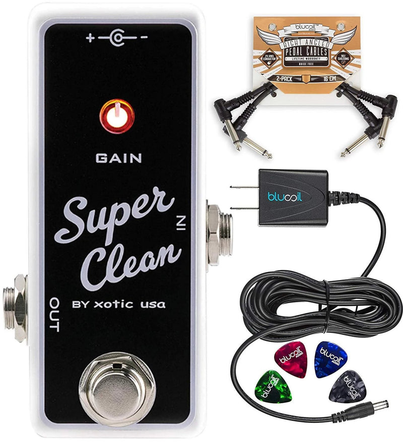 Xotic Super Clean Buffer Guitar Effects Pedal Bundle with Blucoil Slim 9V 670ma Power Supply AC Adapter, 2-Pack of Pedal Patch Cables, and 4-Pack of Celluloid Guitar Picks