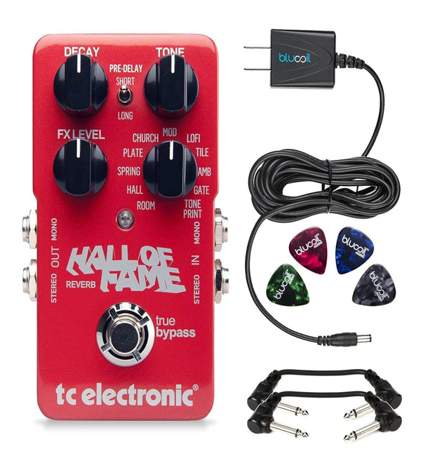 TC Electronic Hall of Fame Stompbox Reverb Foot Pedal - INCLUDES - Blucoil 9V Replacement Power Supply + 4 Pack of Guitar Picks + 2 Hosa 6 inch Molded Right-Angle Guitar Patch Cables