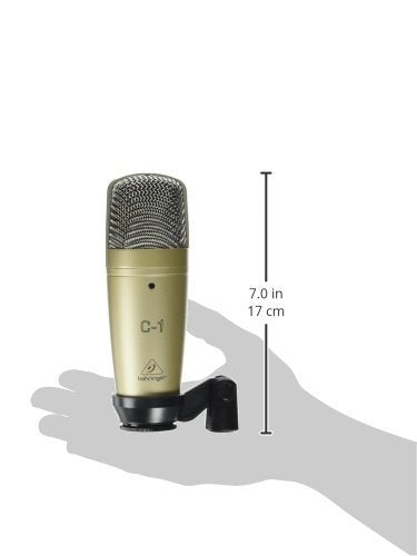Behringer C-1 Large-Diaphragm Condenser Microphone for Live and Studio Recording Bundle with Blucoil Pop Filter Windscreen