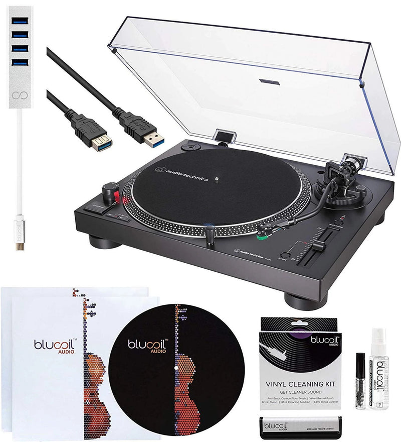 Audio-Technica AT-LP120XUSB USB Direct-Drive Turntable (Black) Bundle with 10-FT USB Extension Cable, Blucoil Type-C Hub, 2-in-1 Vinyl Cleaning Kit, Turntable Slipmat, and 2X LP Inner Sleeves