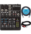 Mackie 402VLZ4 4-Channel Mixer with 2 Onyx Mic Preamps Bundle with Hosa 10-FT 3.5mm to 2 Mono 1/4-Inch Cable, and Blucoil 10-FT Balanced XLR Cable
